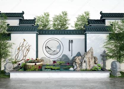 新中?#20132;張山?#31569;庭院荷花池景观3D模型【ID:820812496】