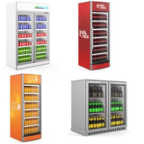 现代超市冰柜饮料柜商展柜架3D模型【ID:127753241】