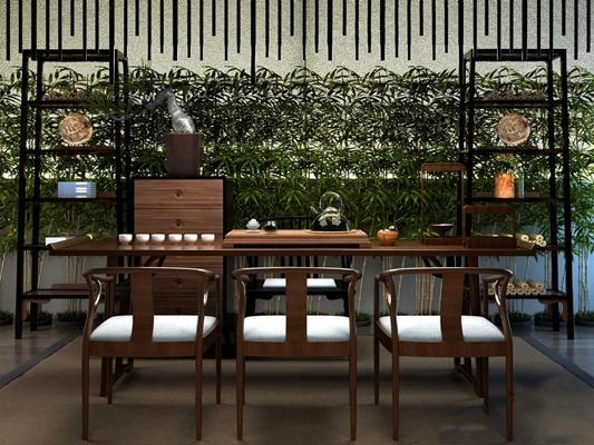 新中式茶桌椅3D模型【ID:628047049】