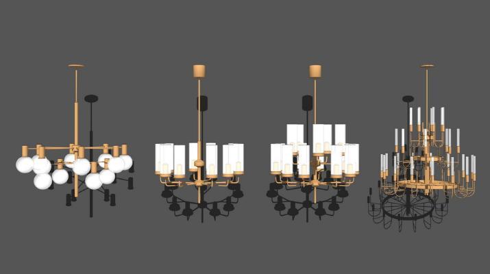 現代金屬吊燈組合SU模型【ID:347329898】