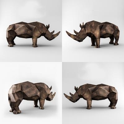 現代犀牛雕塑雕像3D模型【ID:328439869】