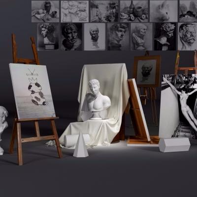 现代画架石膏雕塑美术器材3D模型【ID:928560048】