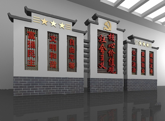 中式背景墙3D模型【ID:326235504】