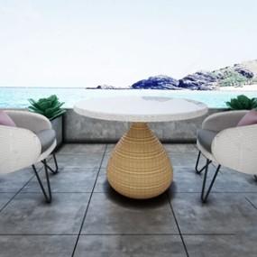 现代户外沙发休闲椅组合3D模型【ID:320826339】