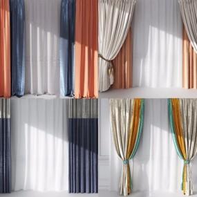 现代窗帘组合3D模型【ID:328249865】