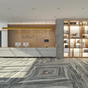 现代办公大堂前台3D模型【ID:728469741】