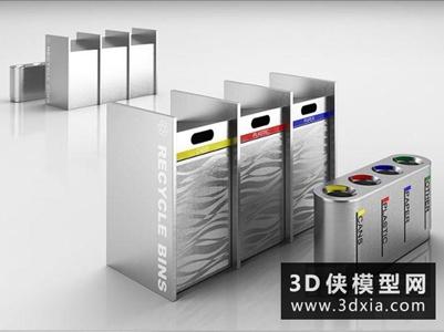 垃圾筒国外3D模型【ID:229818379】