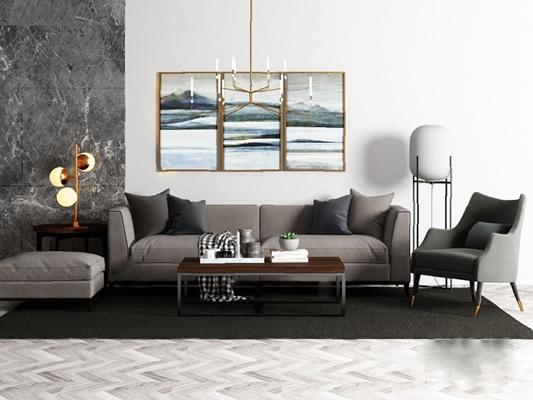 现代沙发茶几组合3D模型【ID:620010061】