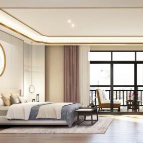 新中式卧室主人房3D模型【ID:128415329】