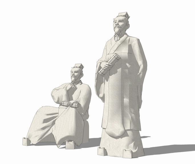 中国古代人物雕塑SU模型【ID:636389605】