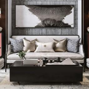 新中式沙发茶几组合3D模型【ID:636240735】