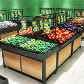 现代商场超市蔬菜货架3D模型【ID:927821253】