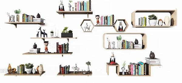 現代層板裝飾架壁柜3D模型【ID:247685479】