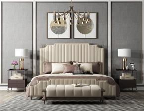 后現代皮革雙人床床頭柜燈具擺件組合3D模型【ID:727807012】