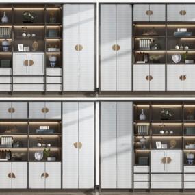 新中式实木书柜装饰柜3d模型【ID:145515526】