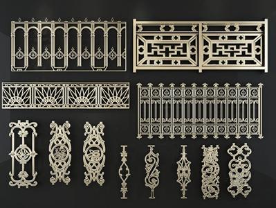 中式雕花栏杆3D模型【ID:332417502】