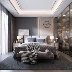 现代卧室3D模型【ID:541805218】