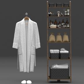 現代衛浴柜架衛浴用品浴袍組合3D模型【ID:927819412】