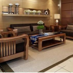 东南亚现代中式实木沙发3D模型【ID:327894373】