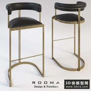 现代金属吧椅国外3D模型【ID:729310892】