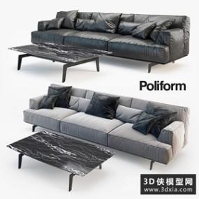 现代三人沙发国外3d模型【ID:729313690】