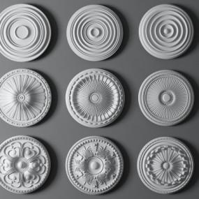 欧式石膏雕花灯盘组合3D模型【ID:827814687】