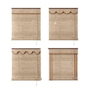 新中式竹簾卷簾窗簾3D模型【ID:332395254】