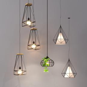 工業風鐵藝吊燈組合3D模型【ID:527798835】