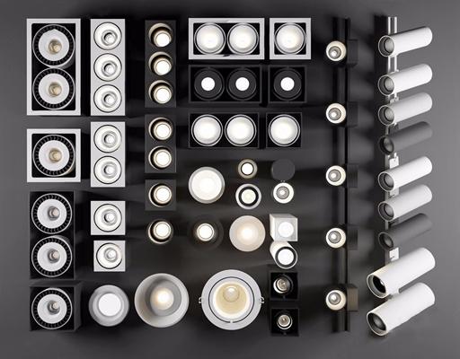現代單頭燈雙頭燈射燈筒燈象皮燈軌道燈組合3D模型【ID:628053614】