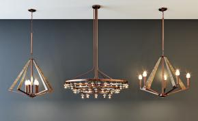 现代时尚吊灯灯具组合3D模型【ID:741355842】
