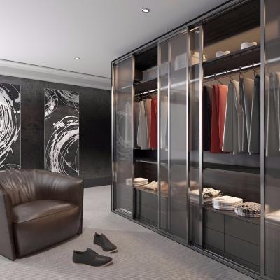 现代实木衣柜皮革沙发服饰组合3D模型【ID:927838992】