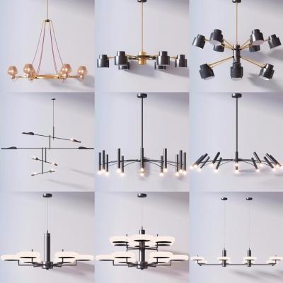 現代精美吊燈組合3D模型【ID:527803822】