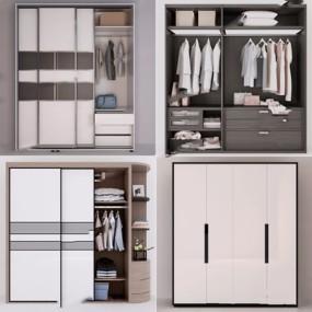 现代衣柜组合3D模型【ID:928208968】
