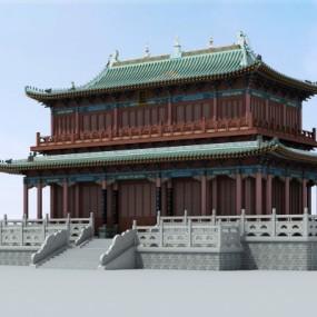 中式藏经阁建筑外观3D模型【ID:528451678】