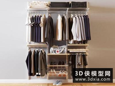 衣服衣柜組合國外3D模型【ID:929346671】
