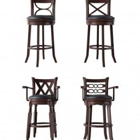 美式实木吧台椅组合3D模型【ID:328439140】
