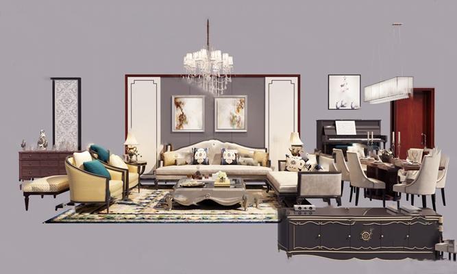 欧式沙发茶几组合3D模型【ID:620013033】