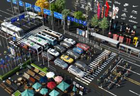 现代汽车人物道路设施路灯公交站广告牌3D模型【ID:327785151】