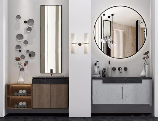 现代洗手台组合3D模型【ID:127875792】