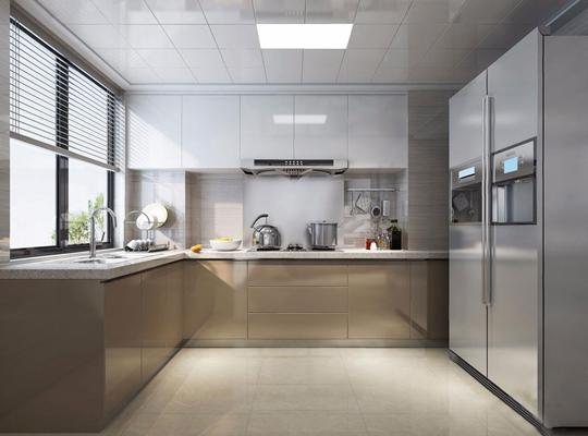 現代廚房3D模型【ID:528029088】