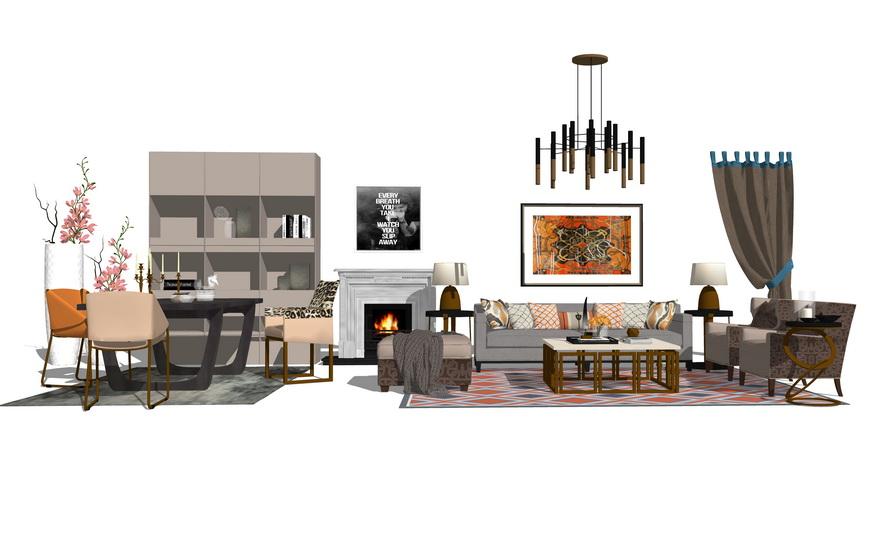 现代爱马仕风格客厅餐厅家具组合SU模型【ID:736391601】