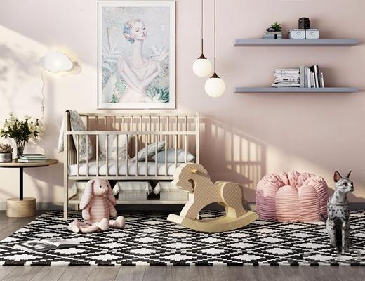 北歐嬰兒房家具組合3D模型【ID:628294931】