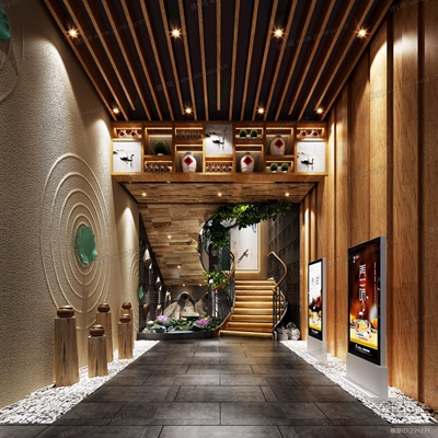 现代餐厅楼梯间3D模型【ID:228022992】