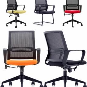 现代布艺网格办公职员椅组合3D模型【ID:227782929】