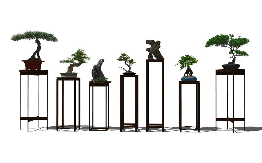 中式盆栽SU模型【ID:236391106】