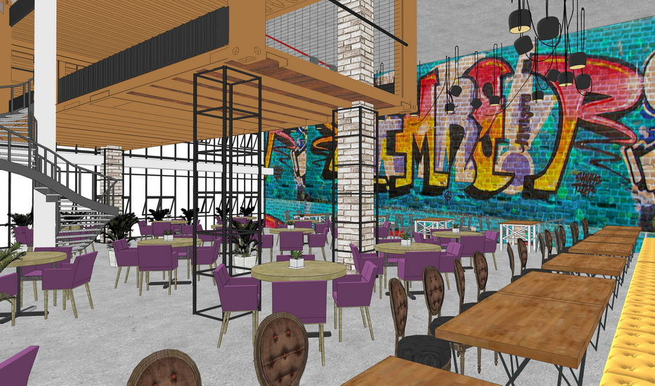 現代工業風咖啡吧室內設計SU模型【ID:936391815】