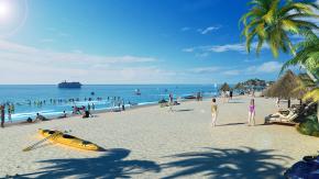 現代海灘沙灘比基尼游艇3D模型【ID:127751825】
