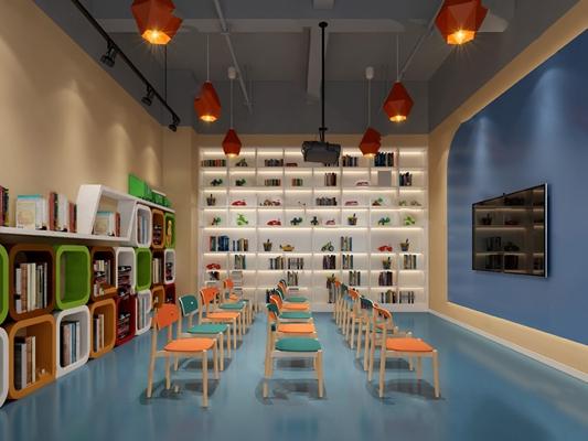 现代教室3D模型【ID:620611003】