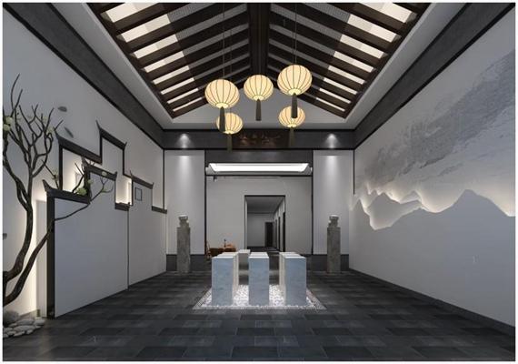 中式会所大厅3D模型【ID:427954673】