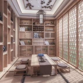 日式榻榻米茶室 3D模型【ID:641357187】